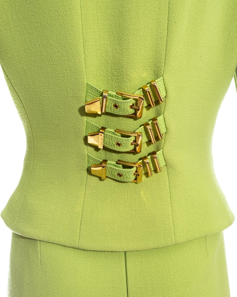 Gianni Versace lime green wool and leather buckle bondage skirt suit, fw 1992 For Sale 4