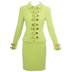 Gianni Versace lime green wool and leather buckle bondage skirt suit, fw 1992