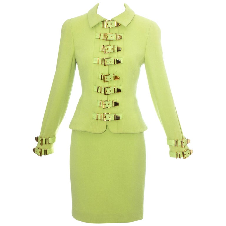 Gianni Versace lime green wool and leather buckle bondage skirt suit, fw 1992 For Sale
