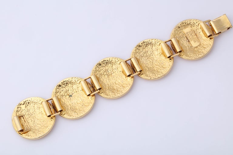 Gianni Versace Massive Gold Toned Bracelet With 5 Medusas For Sale 2