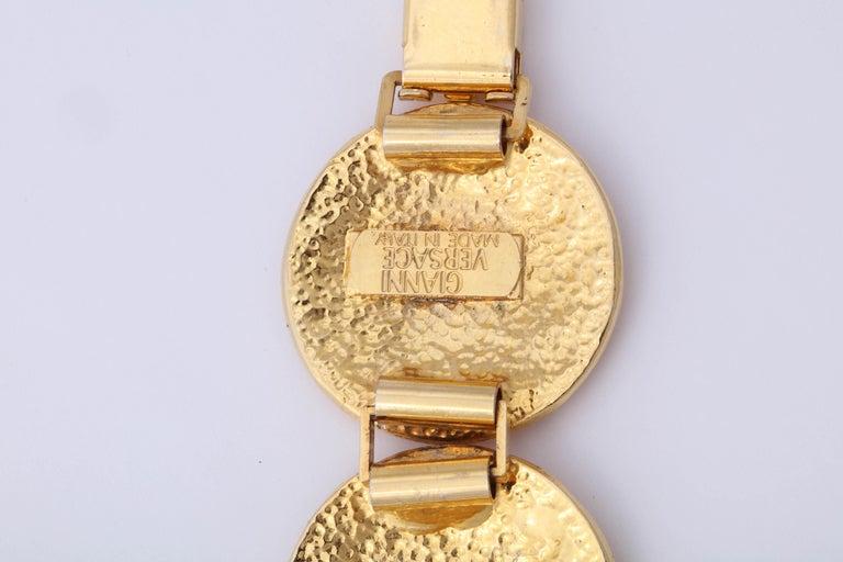 Gianni Versace Massive Gold Toned Bracelet With 5 Medusas For Sale 3