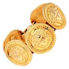Gianni Versace Massive Gold Toned Bracelet With 5 Medusas