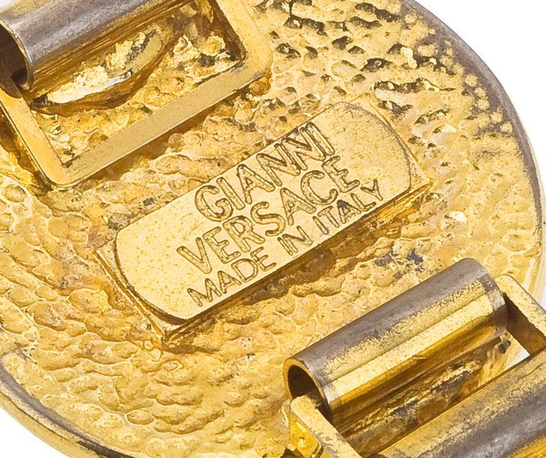 Massive Gianni Versace iconic Medusa Bracelet with rhinestones. Unisex.