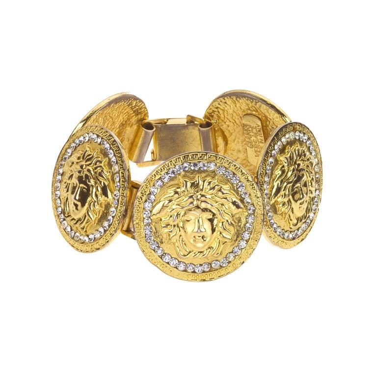 Gianni Versace Massive Medusa Bracelet With Rhinestones In Good Condition For Sale In Chicago, IL
