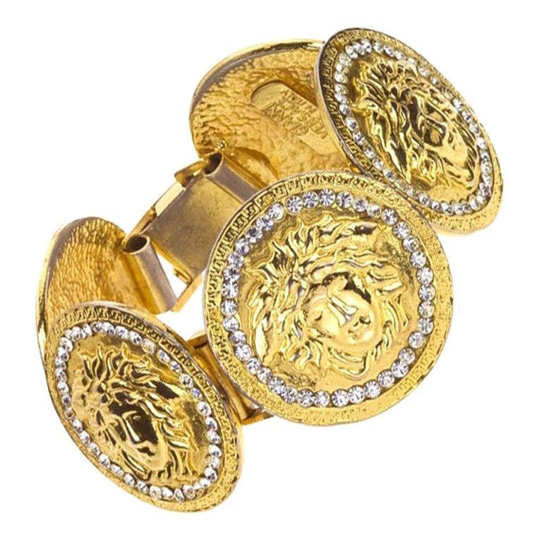 Gianni Versace Massive Medusa Bracelet With Rhinestones For Sale