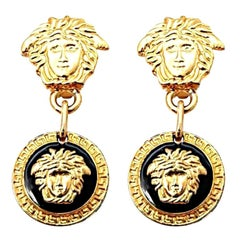 Gianni Versace Medusa Black/Gold Earrings