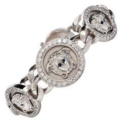 Gianni Versace Medusa Chain Diamond Sapphire 18 Karat Gold Bracelet