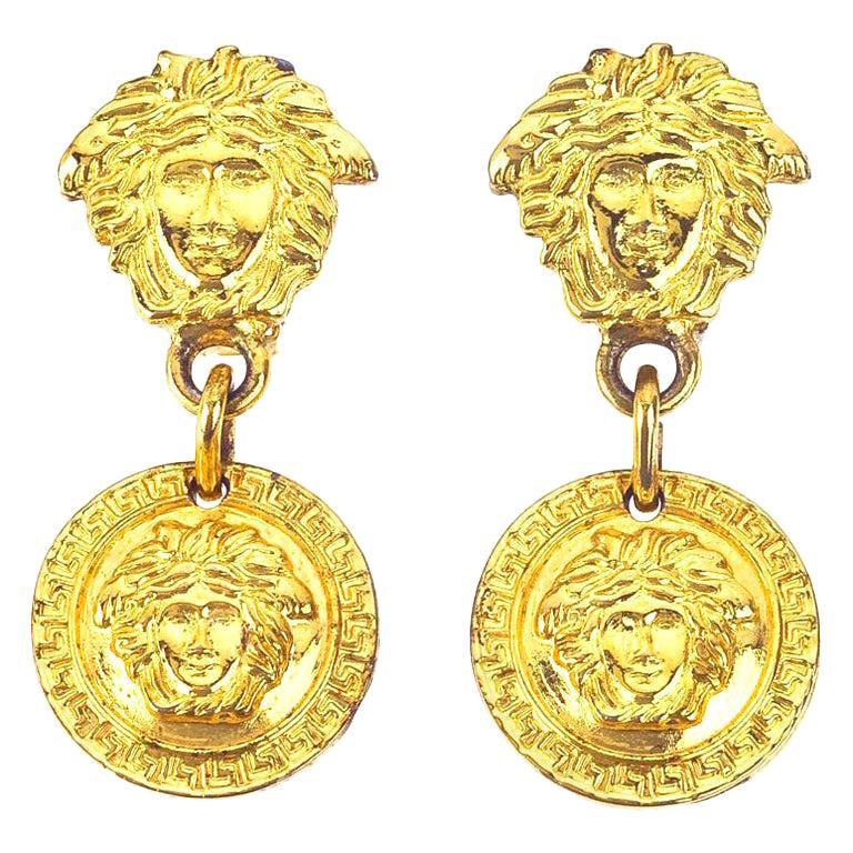 Gianni Versace Medusa Earrings Gold For Sale