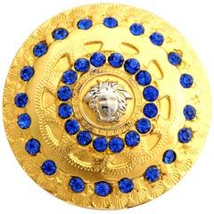 Gianni Versace Medusa Hair Pin with Blue Rhinestones