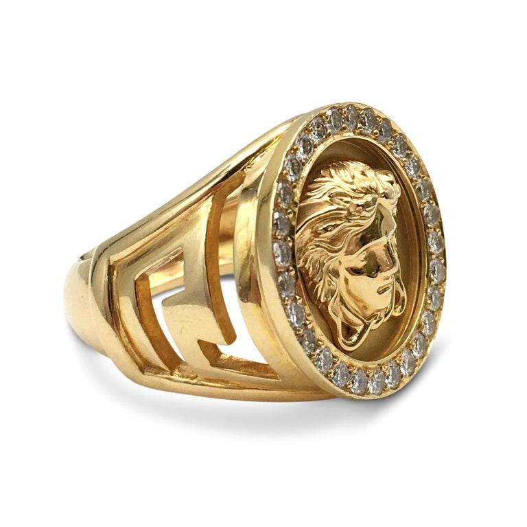 Round Cut Gianni Versace Medusa Head Gold and Diamond Ring For Sale