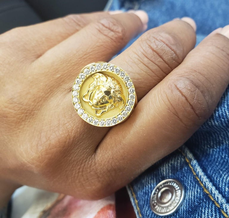 Women's or Men's Gianni Versace Medusa Head Gold and Diamond Ring For Sale