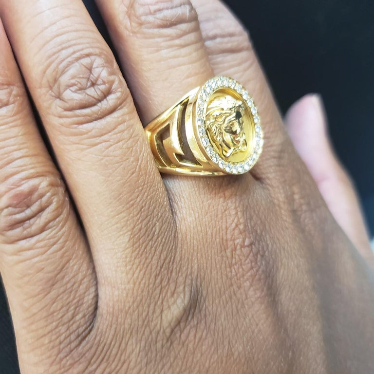 Gianni Versace Medusa Head Gold and Diamond Ring For Sale 1