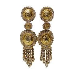 Gianni Versace Medusa Rhinestone Earrings