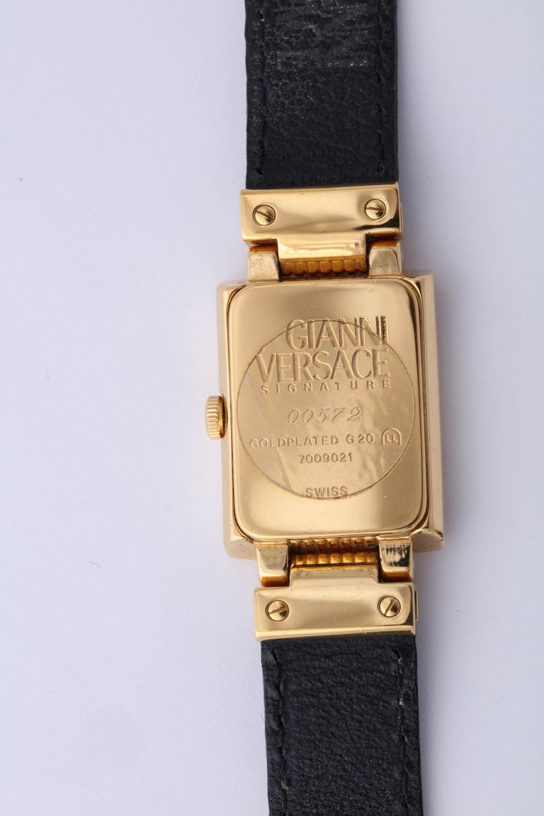 Gianni Versace Medusa Watch with Black Belt  In Good Condition For Sale In Chicago, IL