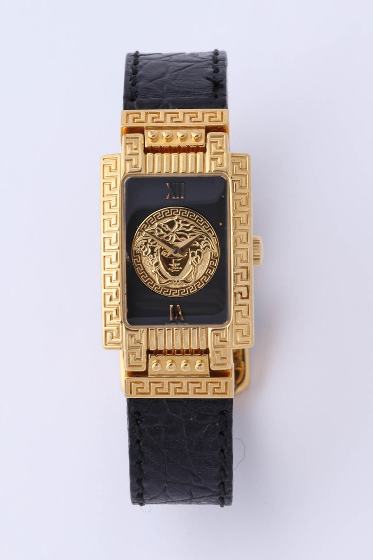 Gianni Versace Medusa Watch with Black Belt  For Sale 2