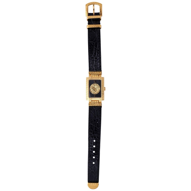 Gianni Versace Medusa Watch with Black Belt  For Sale