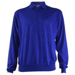 Gianni Versace Mens Cashmere & Silk Royal Blue Vintage Collared Sweater, 1990s
