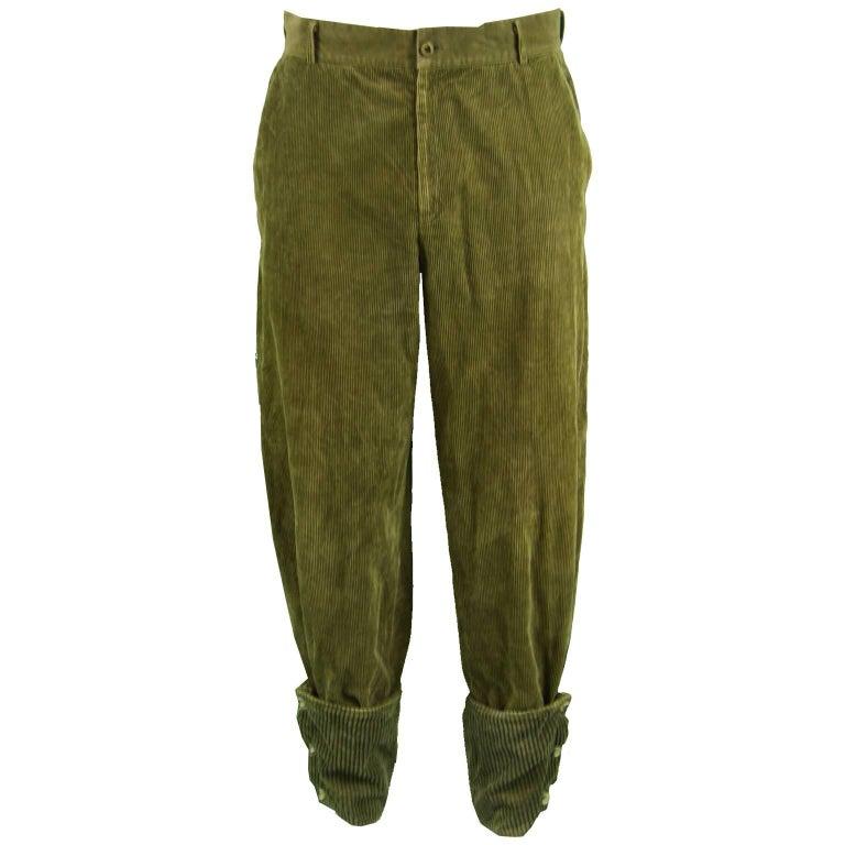 Gianni Versace Men's Green Corduroy Pants with Jumbo Cord Turn Ups, 1980s