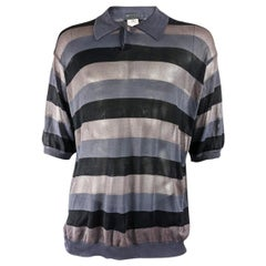 Gianni Versace Mens Sheer Mesh Striped Vintage Shirt