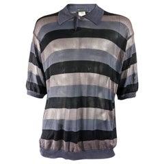Gianni Versace Mens Sheer Mesh Striped Vintage Shirt