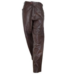 Gianni VERSACE men's unisex brown light burgundy tone leather pants- Unworn, new