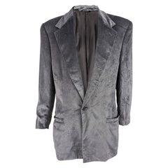 Gianni Versace Mens Vintage Silver Velvet Jacket, 1990s