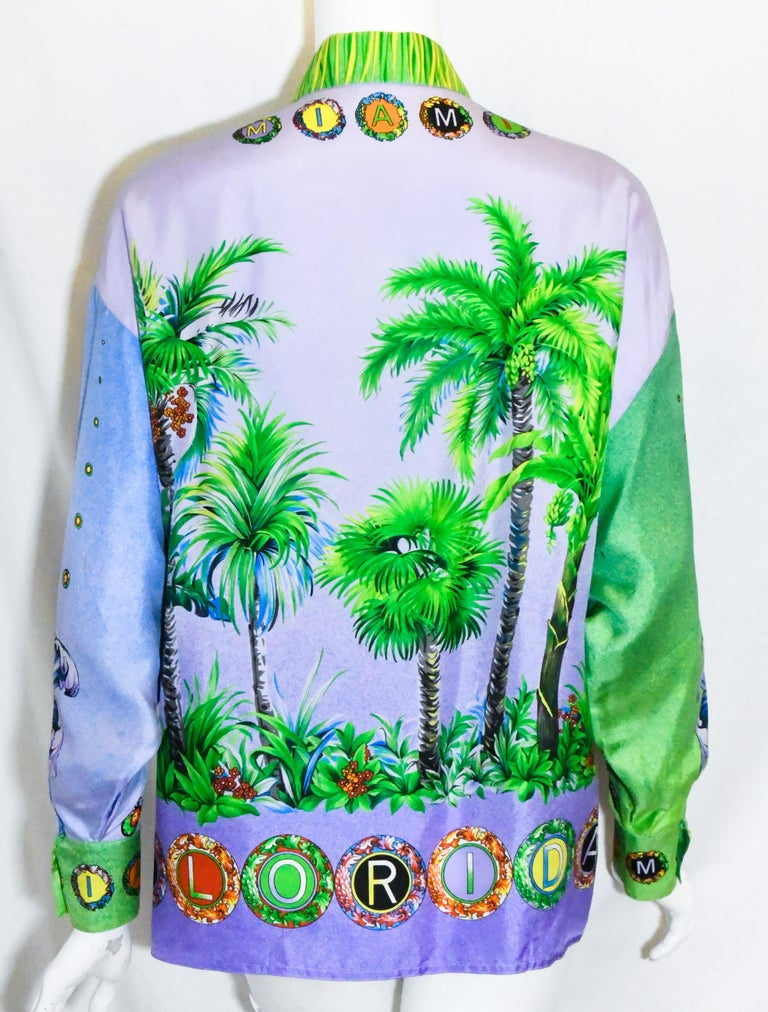 Gianni Versace Miami, Florida Silk Long Sleeve Limited Edition Multi Color Top In Excellent Condition For Sale In Palm Beach, FL