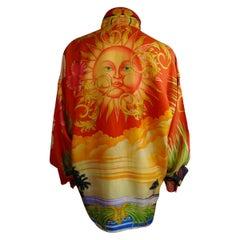 "Gianni Versace ""Miami & Sun"" Print Silk Shirt"