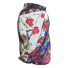 Gianni Versace Mixed Flower Pattern Draped Silk Skirt