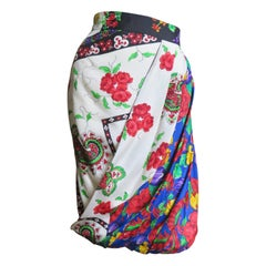 Gianni Versace Mixed Flower Pattern Silk Skirt
