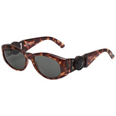 703d55e34f48 Gianni Versace Vintage MOD 414/A Black Sunglasses at 1stdibs
