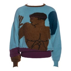 Gianni Versace multicoloured knitted mohair sweater, fw 1982