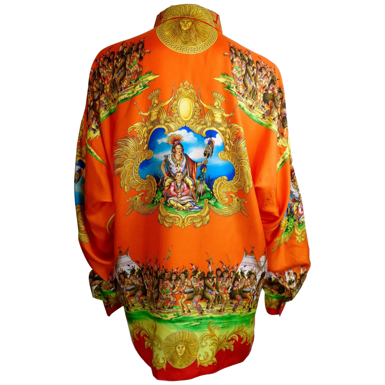 "Gianni Versace ""Native American"" Print Silk Shirt"