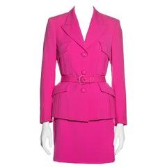 Gianni Versace neon pink wool monochromatic mini skirt suit, fw 1996