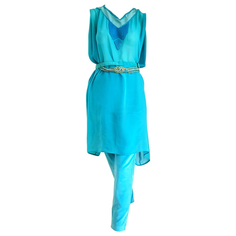 """Gianni VERSACE """"New"""" Couture Silk Tunic Velvet Pants 2 Belts Turquoise Ensemble  For Sale"""