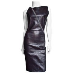 Gianni Versace New Leather Dress with Chain Trim