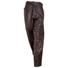 "Gianni VERSACE ""New"" men's Unisex Brown Light Burgundy Tone Leather Pants Unworn"