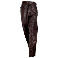 "Gianni VERSACE ""New"" men's Unisex Brown Light Burgundy Tone Leather Pants Unworn"