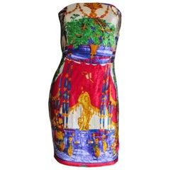 Gianni Versace New Silk Velvet Strapless Dress 1990s
