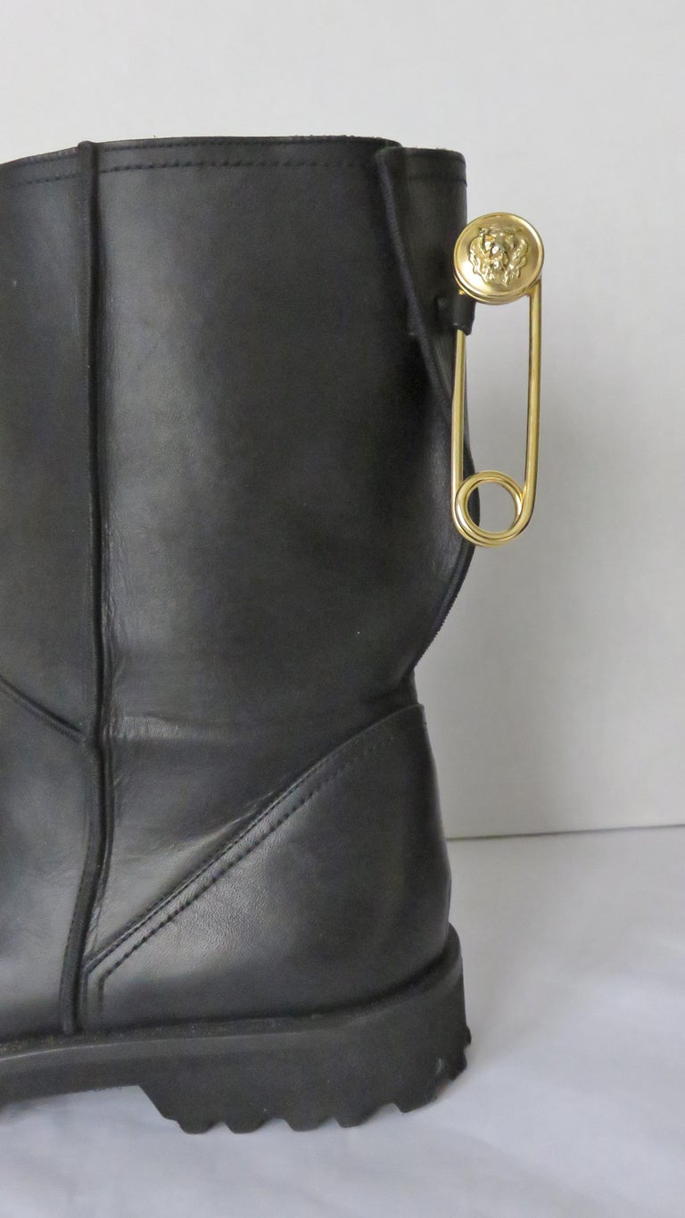 Gianni Versace New Size 37.5 Safety Pin Boots 1990s For Sale 6