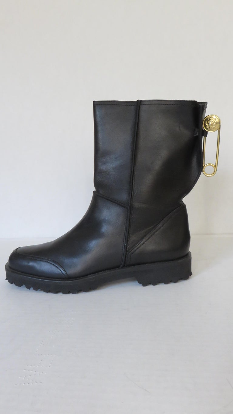Gianni Versace New Size 37.5 Safety Pin Boots 1990s In Good Condition For Sale In New York, NY