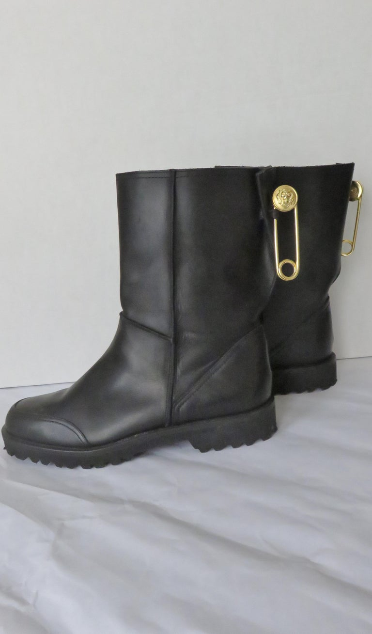 Women's Gianni Versace New Size 37.5 Safety Pin Boots 1990s For Sale