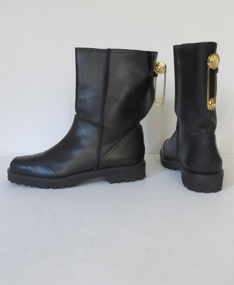 Gianni Versace New Size 37.5 Safety Pin Boots 1990s For Sale 1