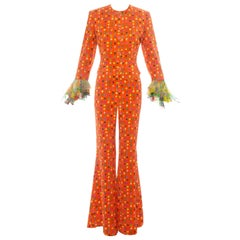 Gianni Versace orange floral printed silk flared pant suit, ss 1993