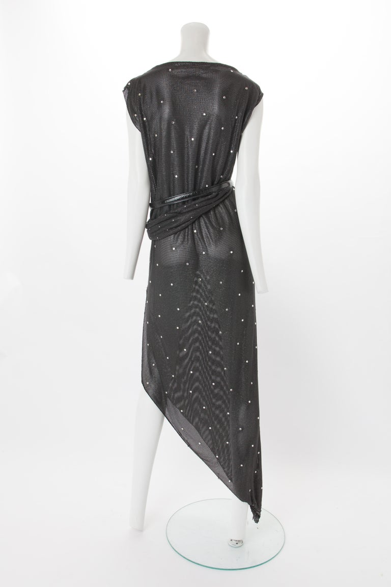 Black Gianni Versace Oroton Dress with Rhinestone Embellishment and Belt, c.1990s. For Sale