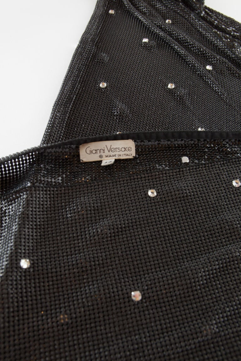 Gianni Versace Oroton Dress with Rhinestone Embellishment and Belt, c.1990s. In Good Condition For Sale In New York, NY