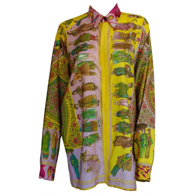 """Gianni Versace """"Paesi"""" Printed Silk Shirt  For Sale"""