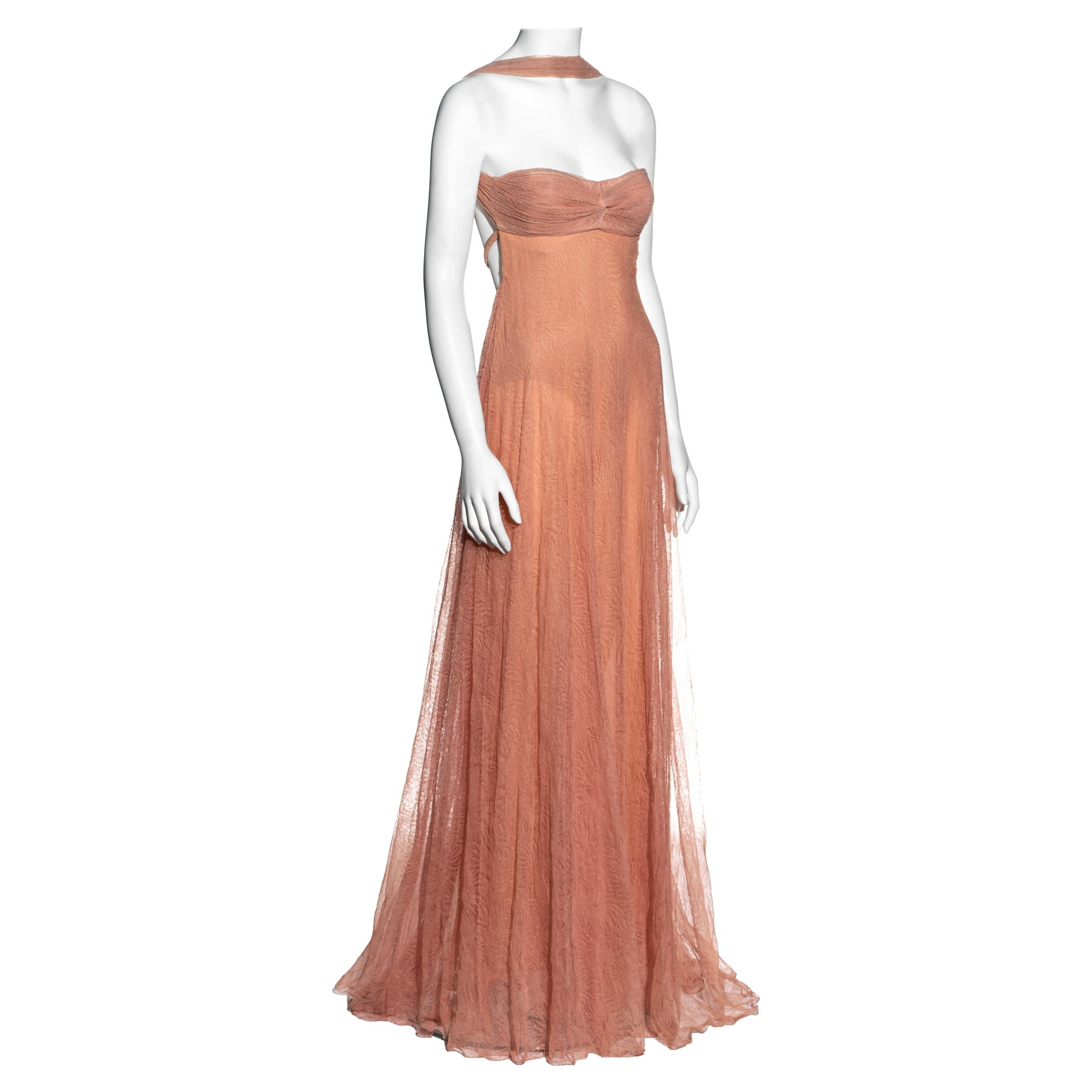Gianni Versace peach cotton lace halter neck evening gown, fw 2000