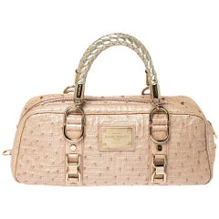 Gianni Versace Peach Quilted Ostrich Embossed Leather Bowler Bag