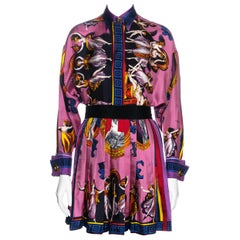 Gianni Versace pink neoclassical printed silk pleated mini skirt suit, fw 1991